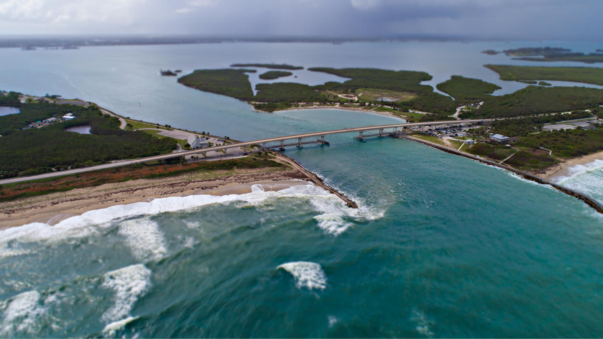 Aerial photo of Sebastian Inlet State Park